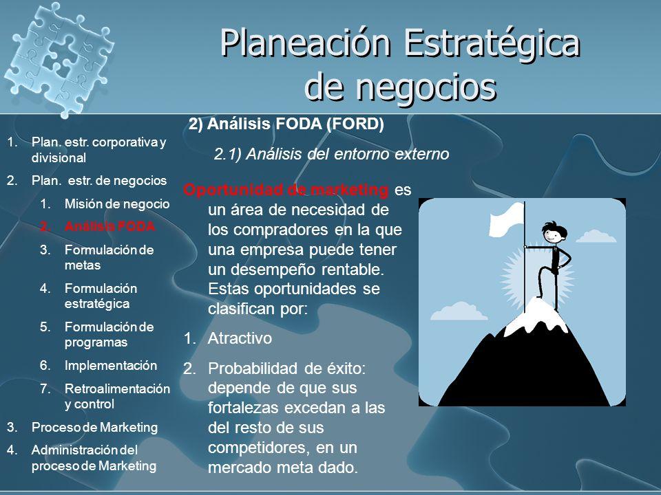 Planeación Estratégica de negocios 2) Análisis FODA (FORD) 2.1) Análisis del entorno externo Oportunidad de marketing es un área de necesidad de los c