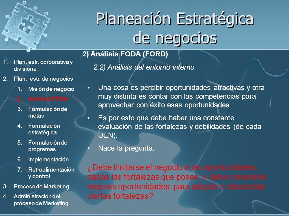 Planeación Estratégica de negocios 2) Análisis FODA (FORD) 2.2) Análisis del entorno interno Una cosa es percibir oportunidades atractivas y otra muy