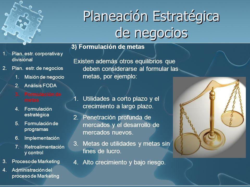 Planeación Estratégica de negocios 3) Formulación de metas Existen además otros equilibrios que deben considerarse al formular las metas, por ejemplo: