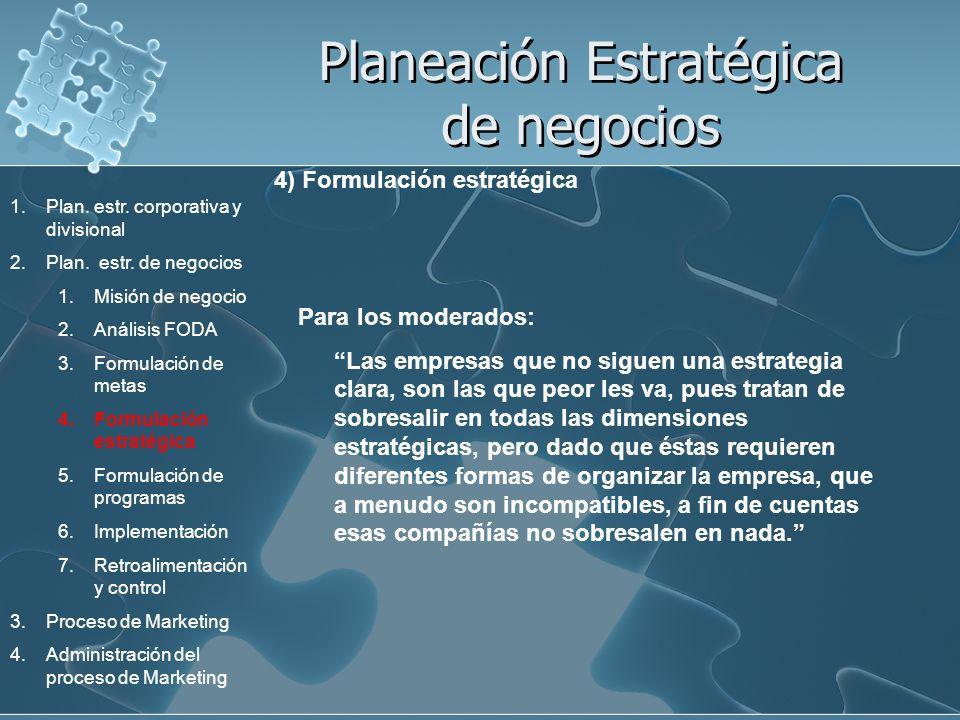 Planeación Estratégica de negocios 4) Formulación estratégica Para los moderados: Las empresas que no siguen una estrategia clara, son las que peor le