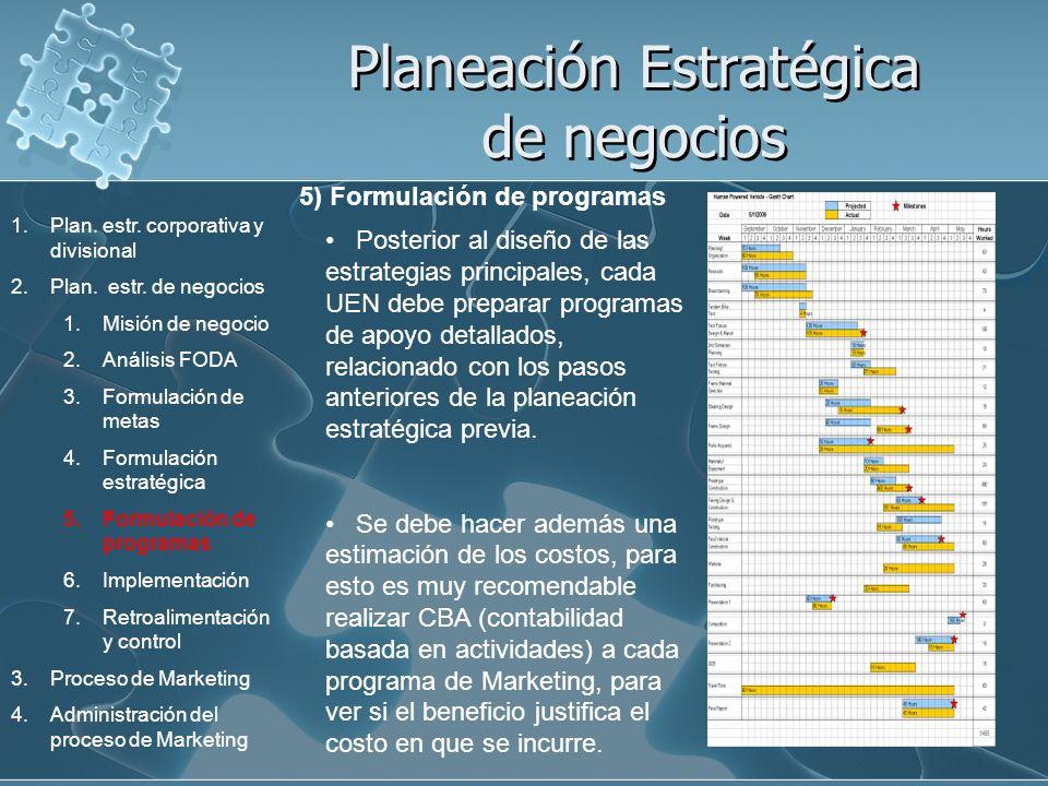 Planeación Estratégica de negocios 5) Formulación de programas Posterior al diseño de las estrategias principales, cada UEN debe preparar programas de