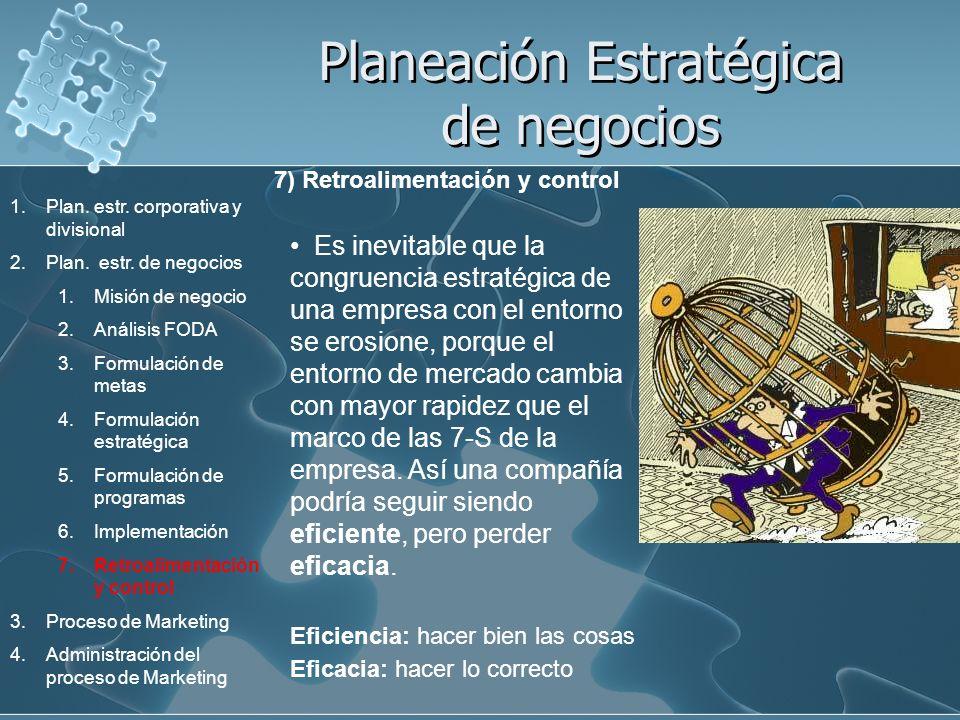 Planeación Estratégica de negocios 7) Retroalimentación y control Es inevitable que la congruencia estratégica de una empresa con el entorno se erosio