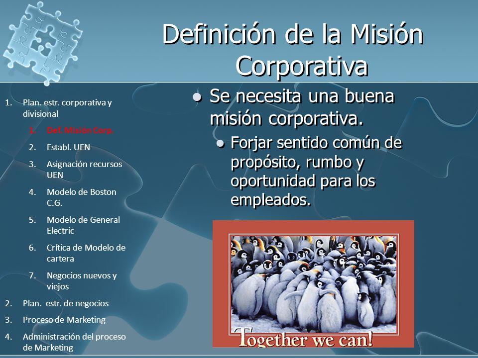 Se necesita una buena misión corporativa. Forjar sentido común de propósito, rumbo y oportunidad para los empleados. 1.Plan. estr. corporativa y divis
