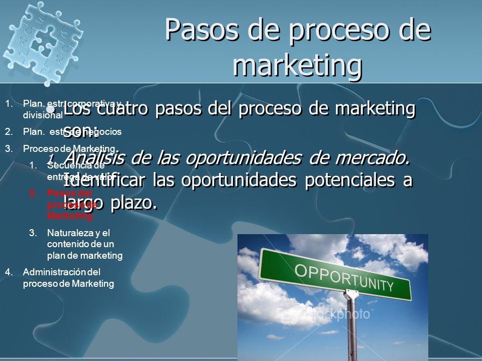 Pasos de proceso de marketing Los cuatro pasos del proceso de marketing son: 1. Análisis de las oportunidades de mercado. Identificar las oportunidade