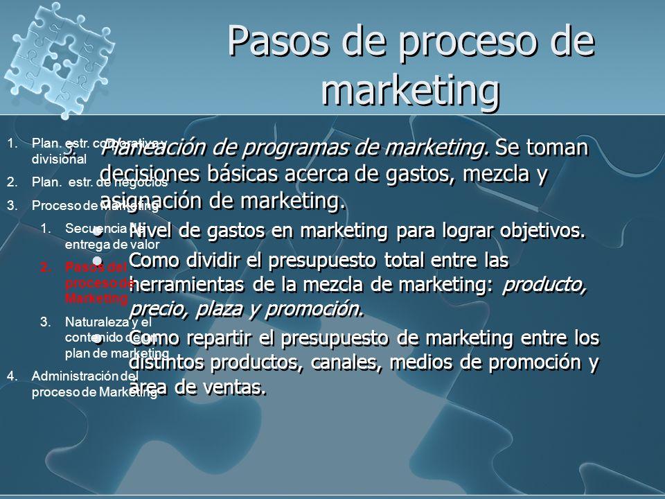 Pasos de proceso de marketing 3. Planeación de programas de marketing. Se toman decisiones básicas acerca de gastos, mezcla y asignación de marketing.