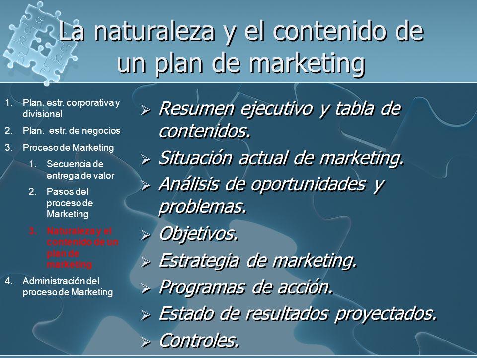La naturaleza y el contenido de un plan de marketing Resumen ejecutivo y tabla de contenidos. Situación actual de marketing. Análisis de oportunidades