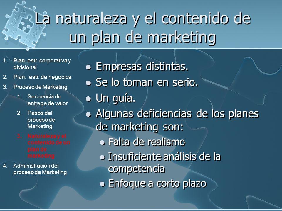 La naturaleza y el contenido de un plan de marketing Empresas distintas. Se lo toman en serio. Un guía. Algunas deficiencias de los planes de marketin