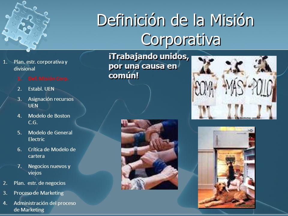 ¡Trabajando unidos, por una causa en común! 1.Plan. estr. corporativa y divisional 1.Def. Misión Corp. 2.Establ. UEN 3.Asignación recursos UEN 4.Model