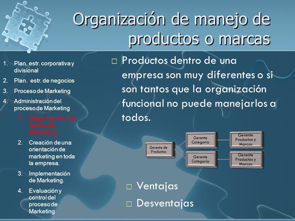 Organización de manejo de productos o marcas Productos dentro de una empresa son muy diferentes o si son tantos que la organización funcional no puede