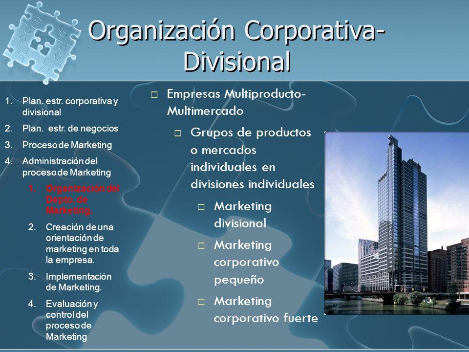 Organización Corporativa- Divisional Empresas Multiproducto- Multimercado Grupos de productos o mercados individuales en divisiones individuales Marke