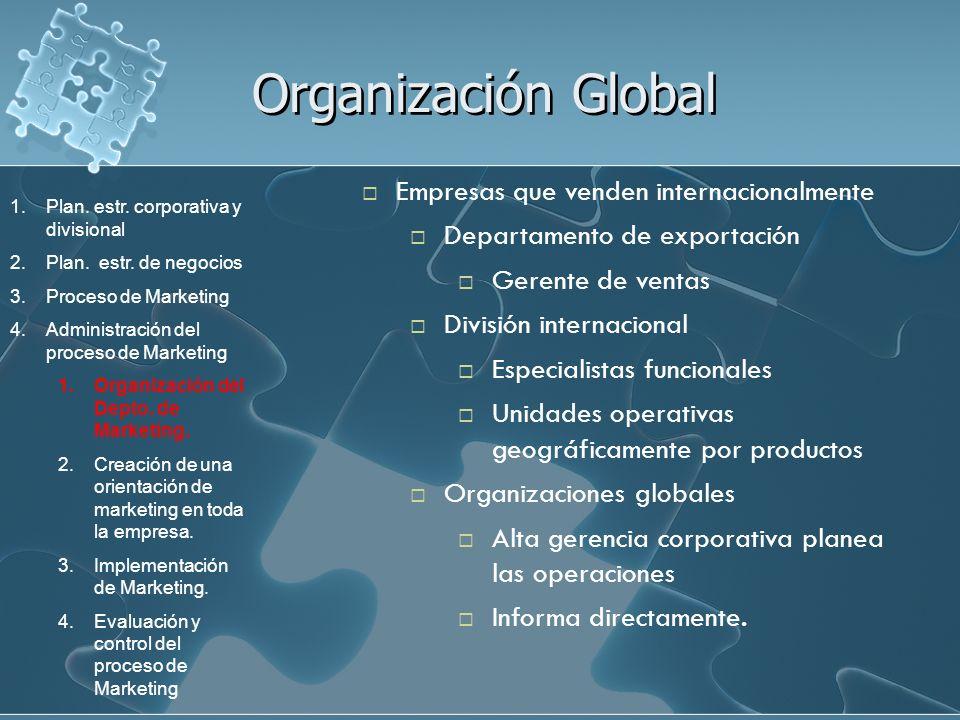 Organización Global Empresas que venden internacionalmente Departamento de exportación Gerente de ventas División internacional Especialistas funciona