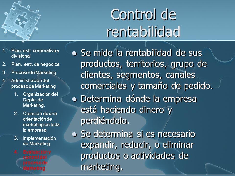 Control de rentabilidad Se mide la rentabilidad de sus productos, territorios, grupo de clientes, segmentos, canales comerciales y tamaño de pedido. D