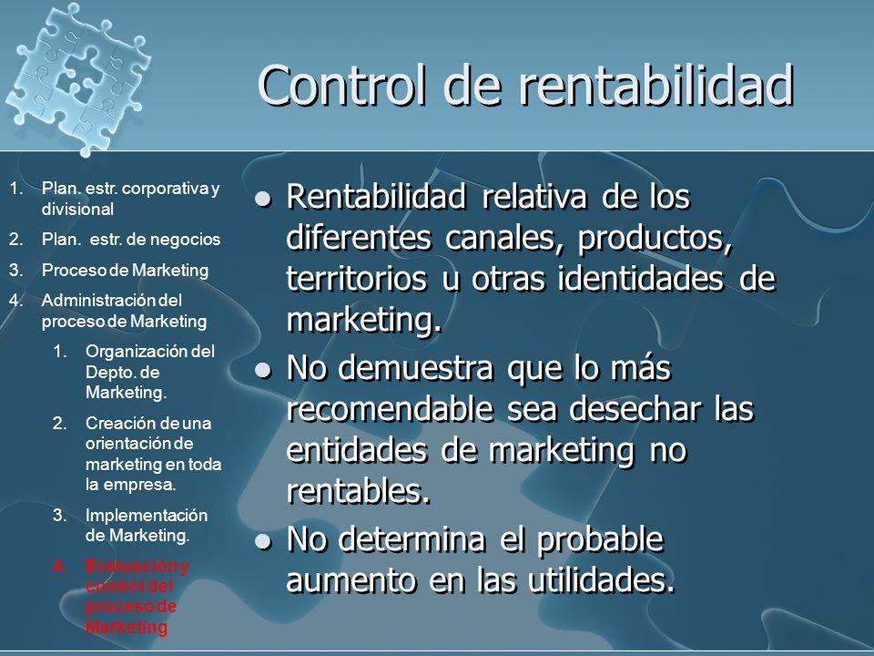 Control de rentabilidad Rentabilidad relativa de los diferentes canales, productos, territorios u otras identidades de marketing. No demuestra que lo