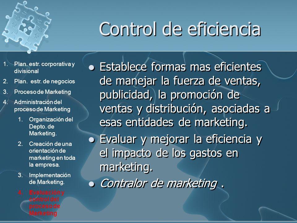Control de eficiencia Establece formas mas eficientes de manejar la fuerza de ventas, publicidad, la promoción de ventas y distribución, asociadas a e