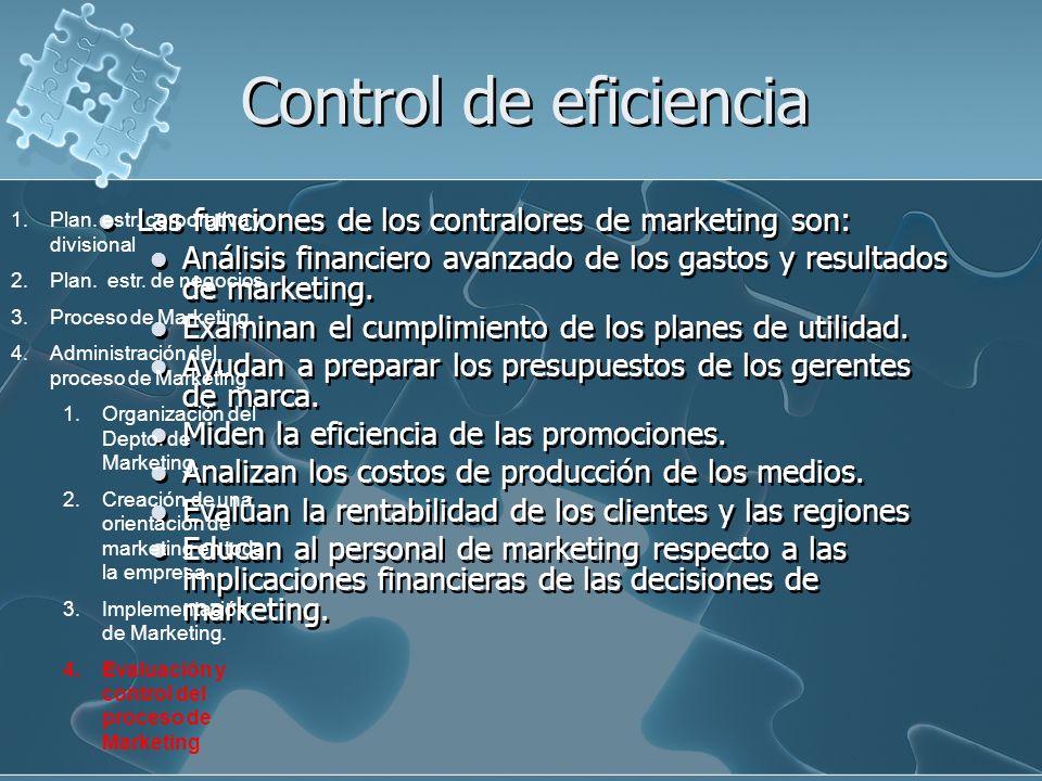 Control de eficiencia Las funciones de los contralores de marketing son: Análisis financiero avanzado de los gastos y resultados de marketing. Examina