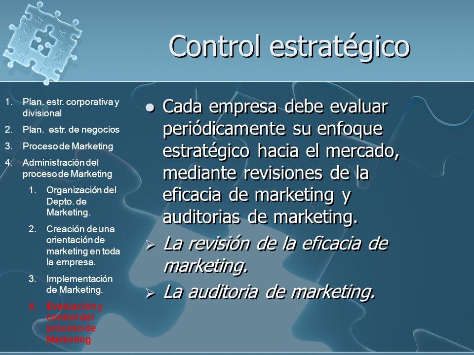 Control estratégico Cada empresa debe evaluar periódicamente su enfoque estratégico hacia el mercado, mediante revisiones de la eficacia de marketing