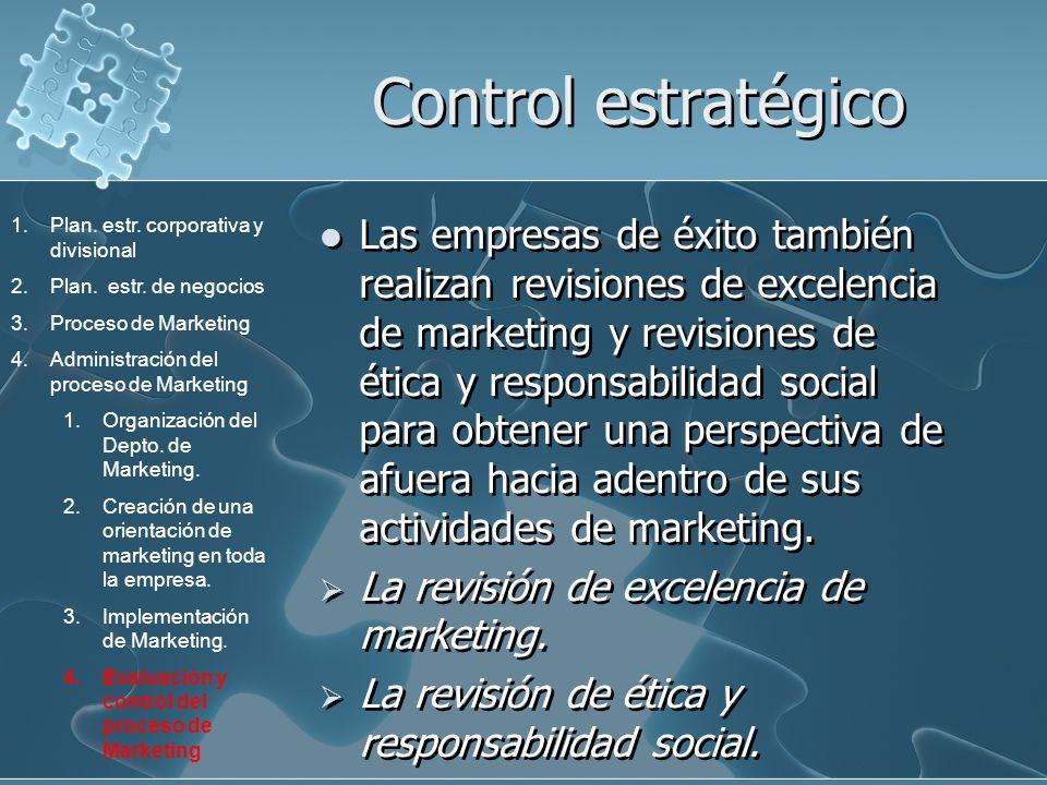 Control estratégico Las empresas de éxito también realizan revisiones de excelencia de marketing y revisiones de ética y responsabilidad social para o