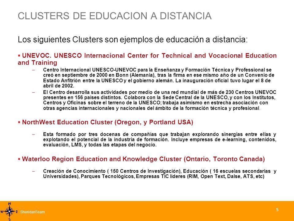 SheridanTeamSheridanTeam 5 CLUSTERS DE EDUCACION A DISTANCIA Los siguientes Clusters son ejemplos de educación a distancia: UNEVOC.