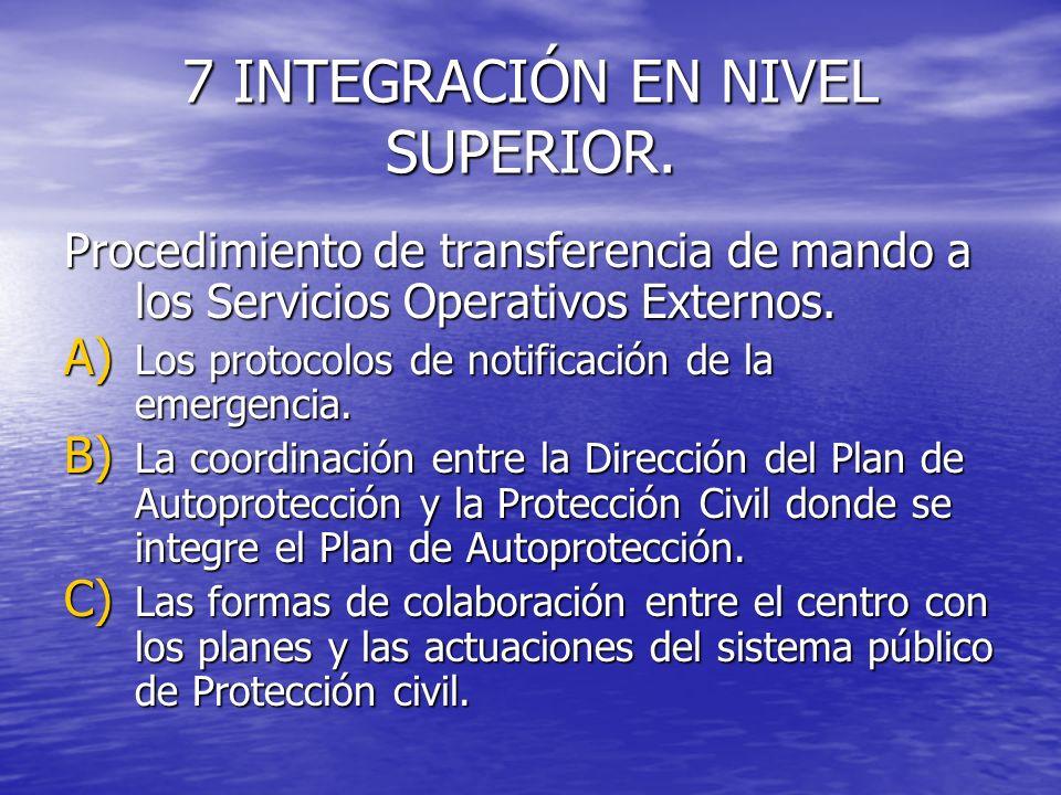 7 INTEGRACIÓN EN NIVEL SUPERIOR. Procedimiento de transferencia de mando a los Servicios Operativos Externos. A) Los protocolos de notificación de la