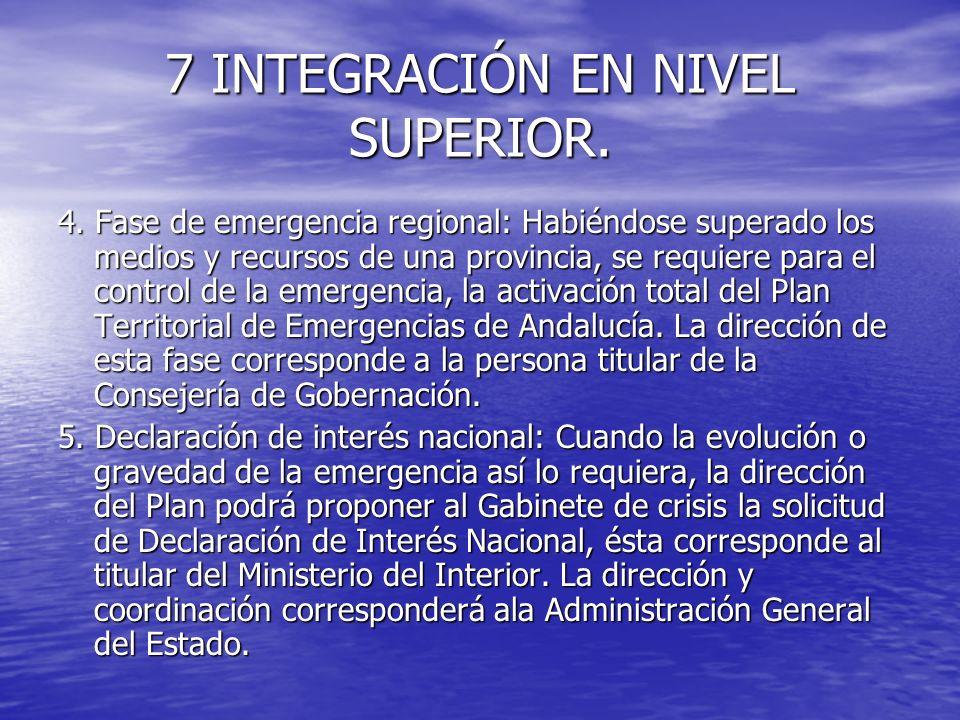 7 INTEGRACIÓN EN NIVEL SUPERIOR. 4. Fase de emergencia regional: Habiéndose superado los medios y recursos de una provincia, se requiere para el contr