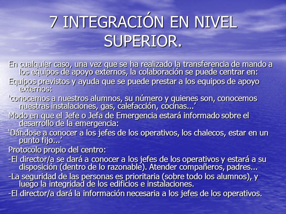 7 INTEGRACIÓN EN NIVEL SUPERIOR. En cualquier caso, una vez que se ha realizado la transferencia de mando a los equipos de apoyo externos, la colabora