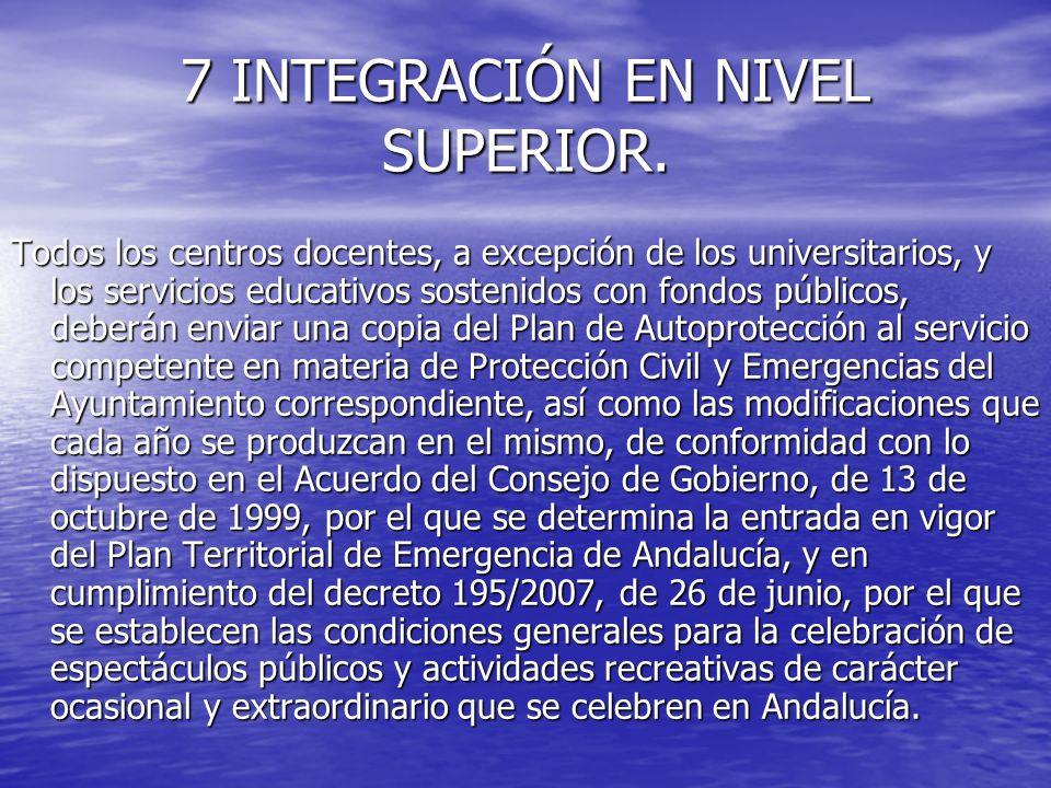 7 INTEGRACIÓN EN NIVEL SUPERIOR. Todos los centros docentes, a excepción de los universitarios, y los servicios educativos sostenidos con fondos públi