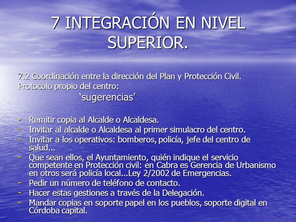 7 INTEGRACIÓN EN NIVEL SUPERIOR. 7.2 Coordinación entre la dirección del Plan y Protección Civil. Protocolo propio del centro: sugerencias sugerencias