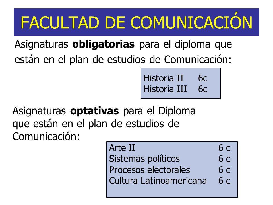 FACULTAD DE COMUNICACIÓN Asignaturas obligatorias para el diploma que están en el plan de estudios de Comunicación: Historia II6c Historia III6c Asign
