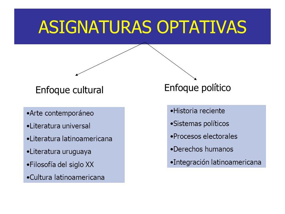ASIGNATURAS OPTATIVAS Enfoque cultural Enfoque político Arte contemporáneo Literatura universal Literatura latinoamericana Literatura uruguaya Filosof
