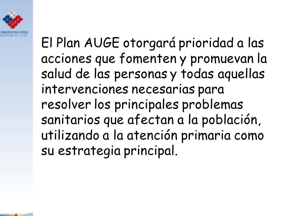 El Plan AUGE otorgará prioridad a las acciones que fomenten y promuevan la salud de las personas y todas aquellas intervenciones necesarias para resol