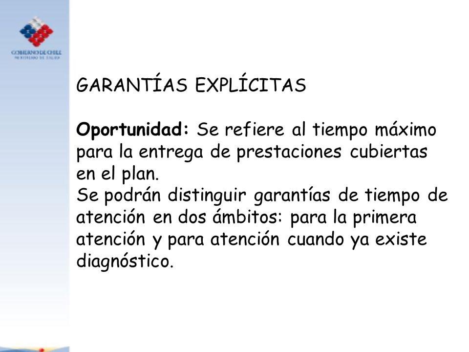 GARANTÍAS EXPLÍCITAS Oportunidad: Se refiere al tiempo máximo para la entrega de prestaciones cubiertas en el plan. Se podrán distinguir garantías de