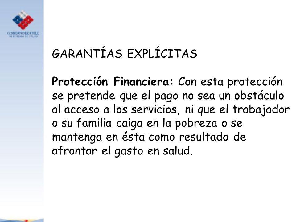 GARANTÍAS EXPLÍCITAS Protección Financiera: Con esta protección se pretende que el pago no sea un obstáculo al acceso a los servicios, ni que el traba