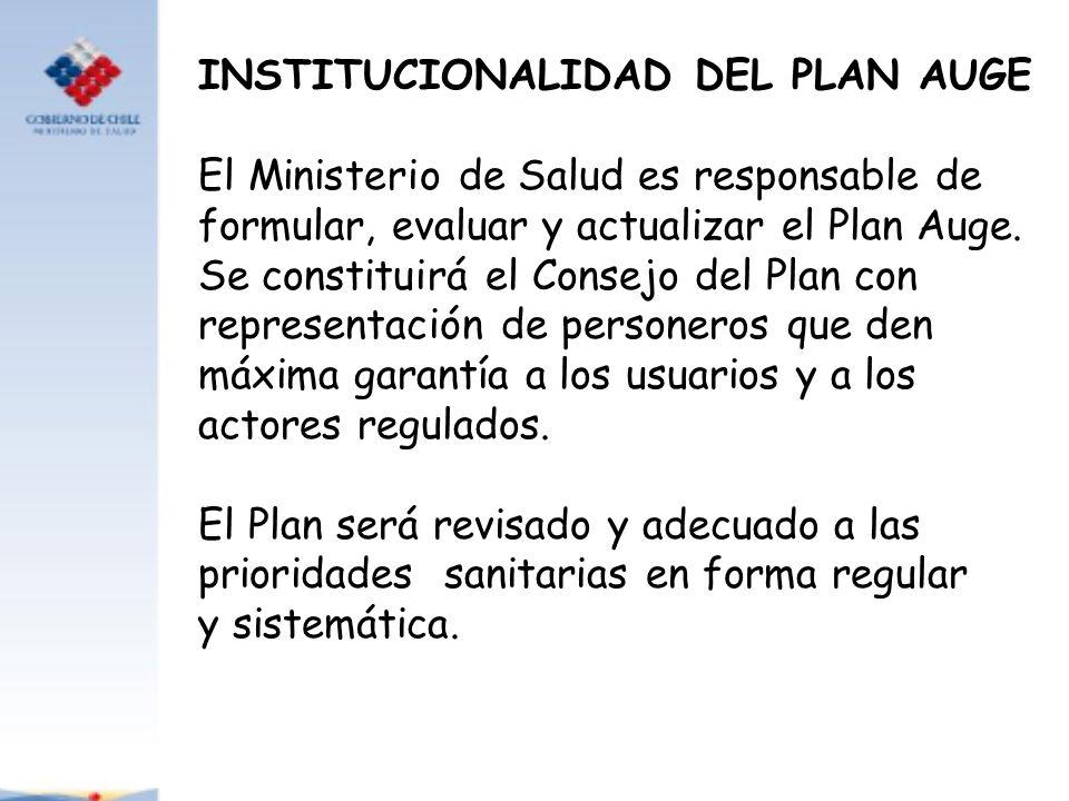 INSTITUCIONALIDAD DEL PLAN AUGE El Ministerio de Salud es responsable de formular, evaluar y actualizar el Plan Auge. Se constituirá el Consejo del Pl