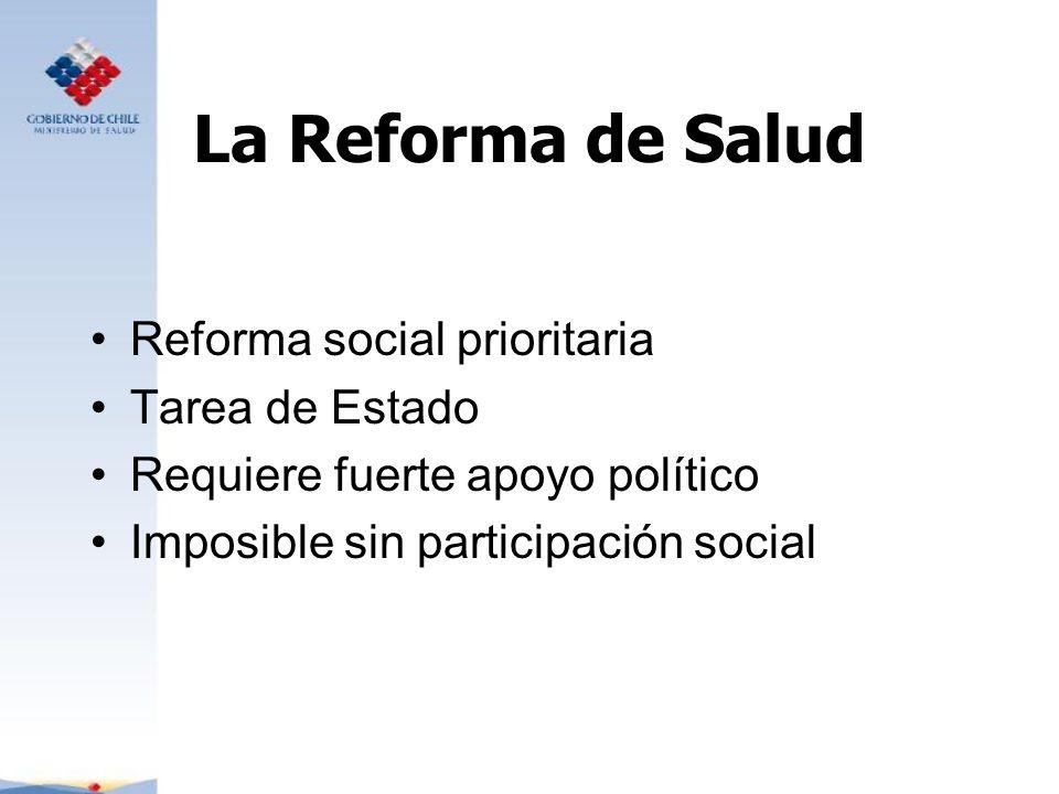 La Reforma de Salud Reforma social prioritaria Tarea de Estado Requiere fuerte apoyo político Imposible sin participación social