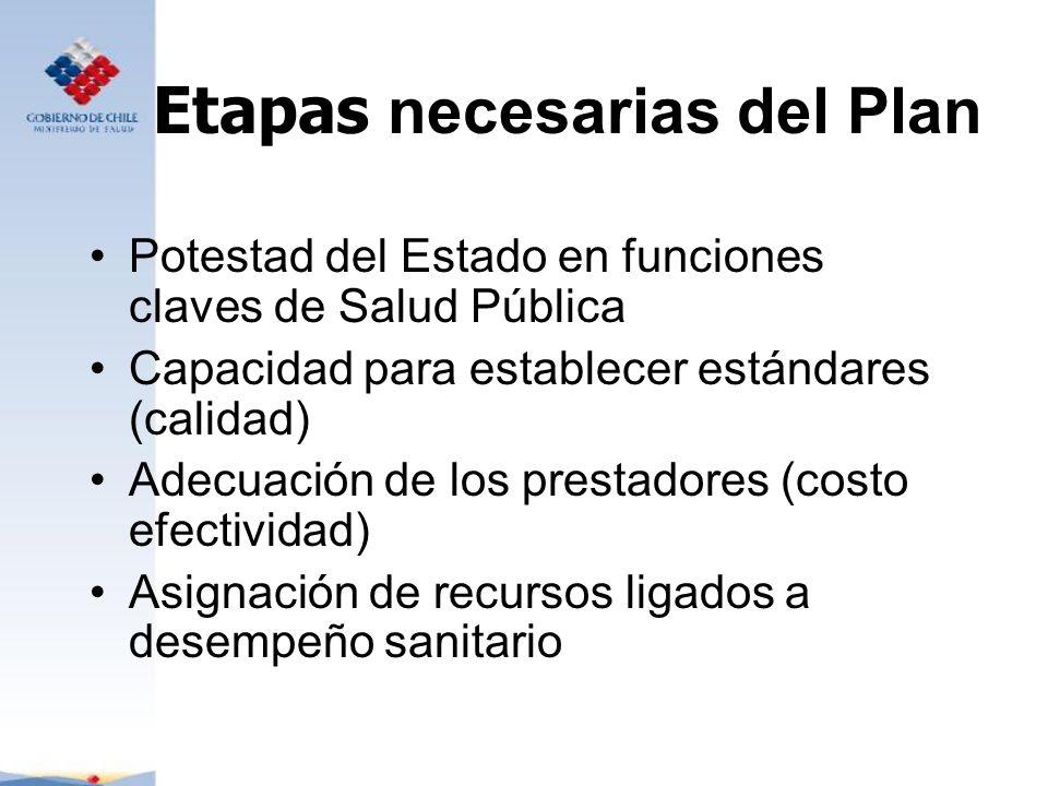Etapas necesarias del Plan Potestad del Estado en funciones claves de Salud Pública Capacidad para establecer estándares (calidad) Adecuación de los p