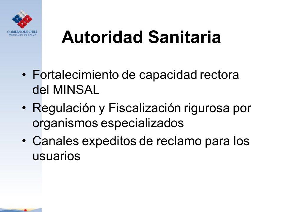 Autoridad Sanitaria Fortalecimiento de capacidad rectora del MINSAL Regulación y Fiscalización rigurosa por organismos especializados Canales expedito