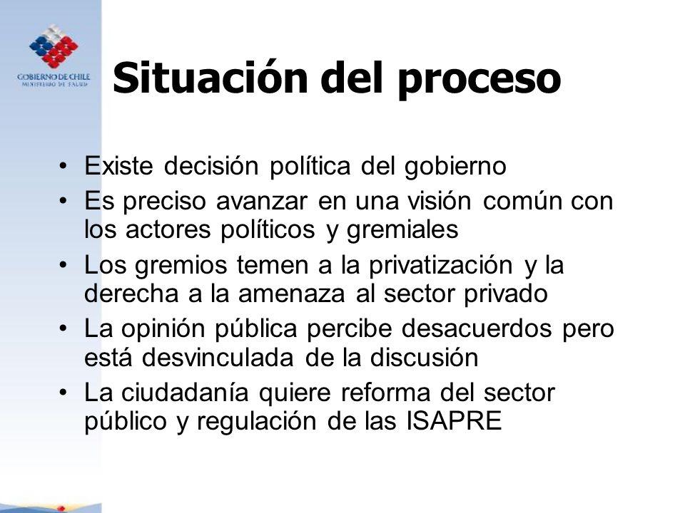 Situación del proceso Existe decisión política del gobierno Es preciso avanzar en una visión común con los actores políticos y gremiales Los gremios t