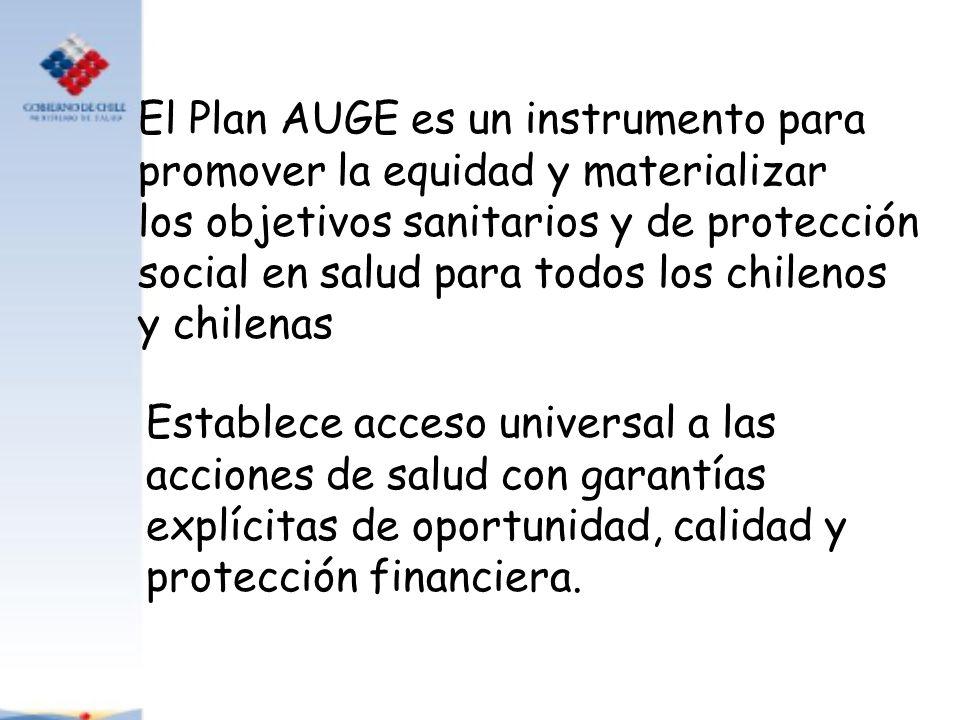 El Plan AUGE es un instrumento para promover la equidad y materializar los objetivos sanitarios y de protección social en salud para todos los chileno