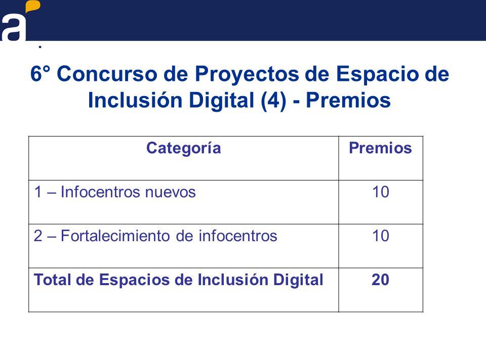 6° Concurso de Proyectos de Espacio de Inclusión Digital (4) - Premios CategoríaPremios 1 – Infocentros nuevos10 2 – Fortalecimiento de infocentros10