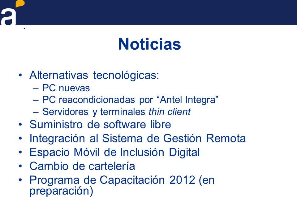 Noticias Alternativas tecnológicas: –PC nuevas –PC reacondicionadas por Antel Integra –Servidores y terminales thin client Suministro de software libr