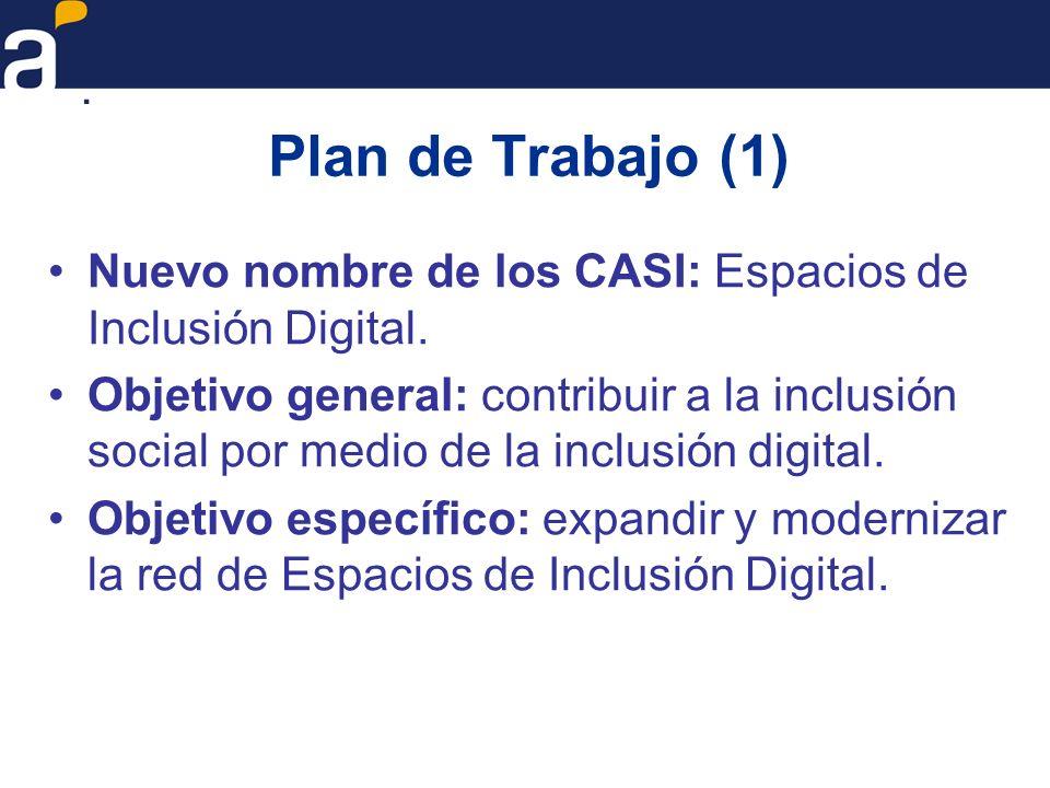 Plan de Trabajo (2) Resultados pretendidos: –Continuar el crecimiento cuantitativo de los Espacios de Inclusión Digital, instalando nuevos Espacios y ampliando o actualizando los Espacios preexistentes, en función de la demanda insatisfecha de los servicios brindados por los mismos.