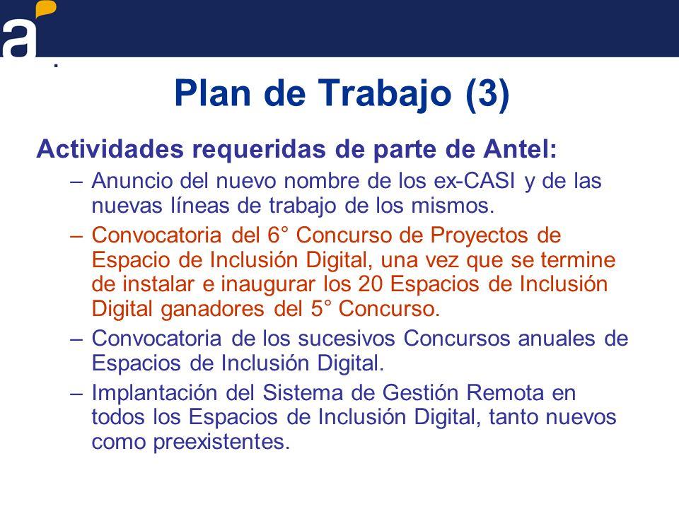Plan de Trabajo (3) Actividades requeridas de parte de Antel: –Anuncio del nuevo nombre de los ex-CASI y de las nuevas líneas de trabajo de los mismos