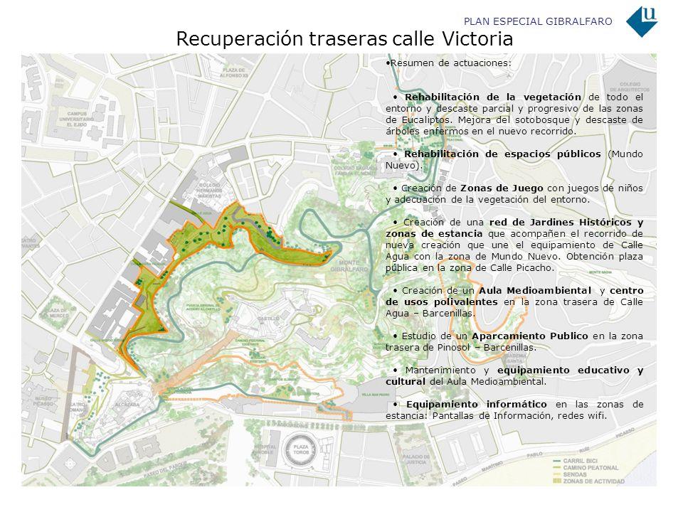 PLAN ESPECIAL GIBRALFARO Recuperación traseras calle Victoria Resumen de actuaciones: Rehabilitación de la vegetación de todo el entorno y descaste pa
