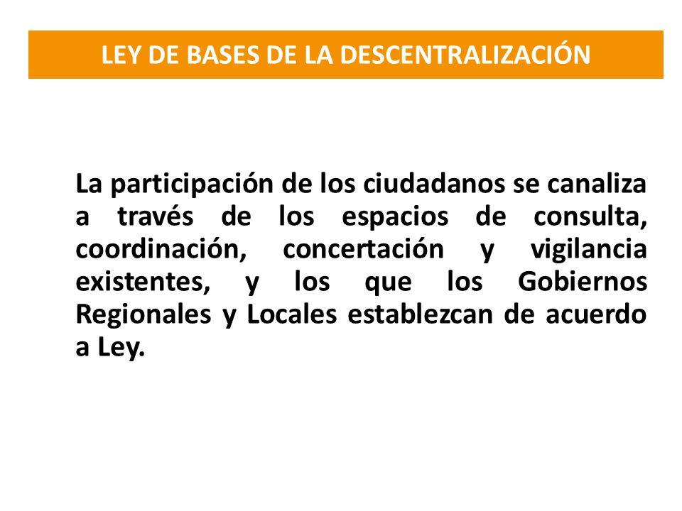 La participación de los ciudadanos se canaliza a través de los espacios de consulta, coordinación, concertación y vigilancia existentes, y los que los