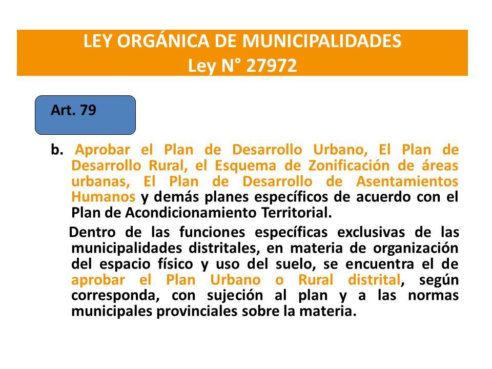 LEY ORGÁNICA DE MUNICIPALIDADES Ley N° 27972 Art. 79 b. Aprobar el Plan de Desarrollo Urbano, El Plan de Desarrollo Rural, el Esquema de Zonificación