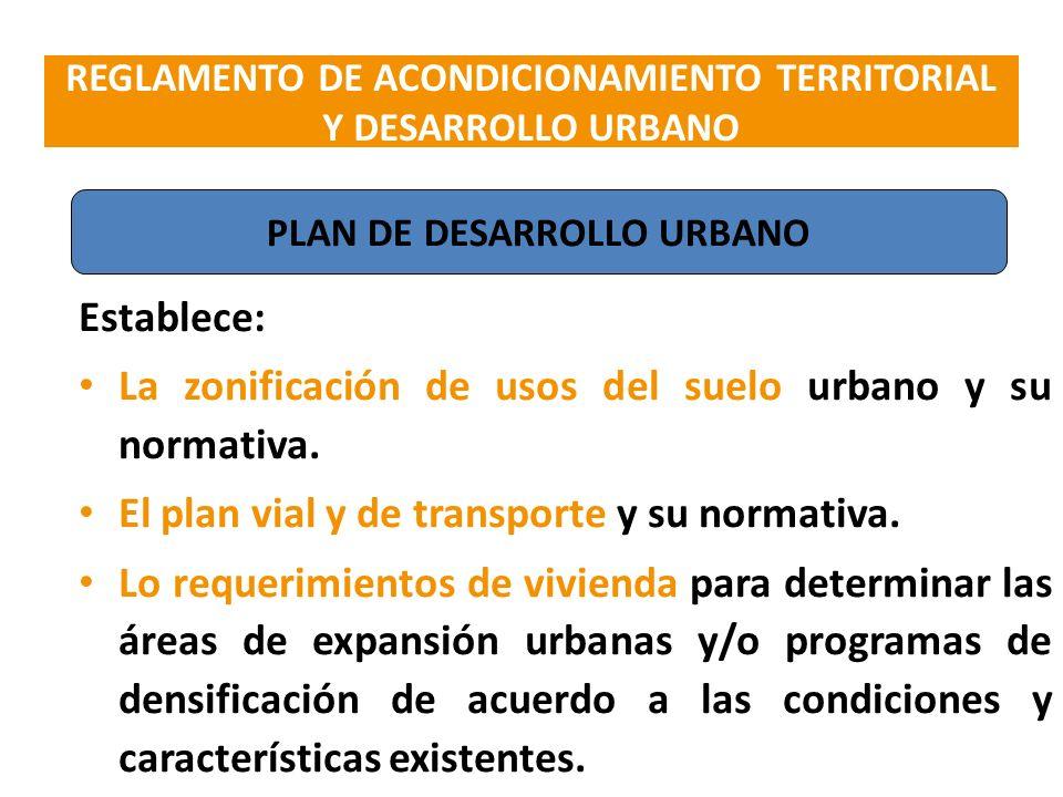 Establece: La zonificación de usos del suelo urbano y su normativa. El plan vial y de transporte y su normativa. Lo requerimientos de vivienda para de