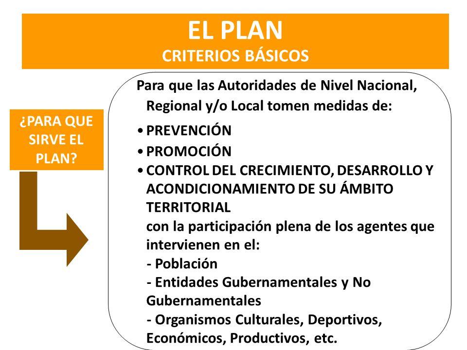 Para que las Autoridades de Nivel Nacional, Regional y/o Local tomen medidas de: PREVENCIÓN PROMOCIÓN CONTROL DEL CRECIMIENTO, DESARROLLO Y ACONDICION