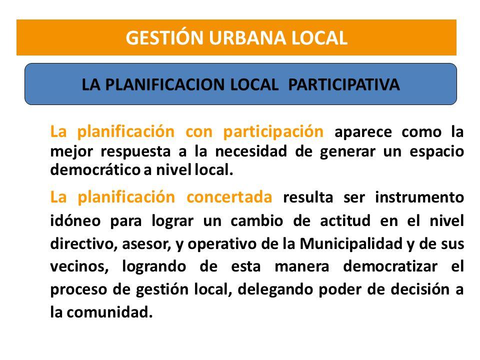 La planificación con participación aparece como la mejor respuesta a la necesidad de generar un espacio democrático a nivel local. La planificación co