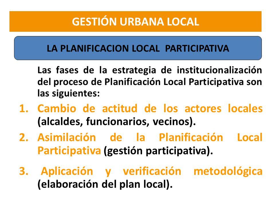 Las fases de la estrategia de institucionalización del proceso de Planificación Local Participativa son las siguientes: 1.Cambio de actitud de los act