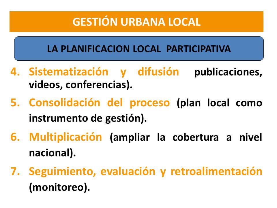 4.Sistematización y difusión (publicaciones, videos, conferencias). 5.Consolidación del proceso (plan local como instrumento de gestión). 6.Multiplica